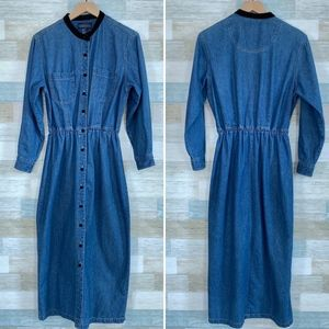 Denim Maxi Shirtdress Blue Velvet Trim Vintage